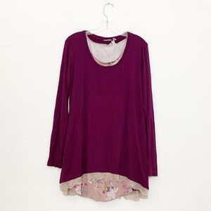Logo Lori Goldstein Twinset with Lace Hem Top